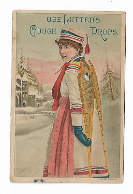 Old Medicine Trade Card Lutted's Cough Drop Woman Snowshoes