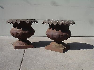 Antique Cast Iron Graden Urns Vintage Urn Planters Rare Pair Large Urn Big
