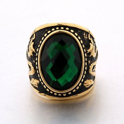 Vintage Mens Stainless Steel Oval Green Emerald Gold Dragon Finger Rings Jewelry