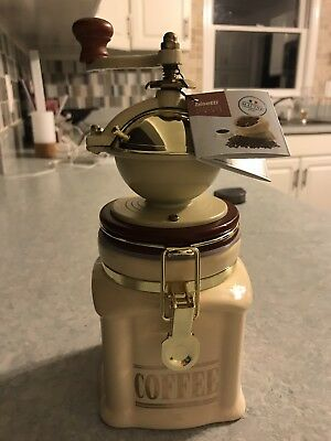 Bisetti 61531 Vivalto Manual Coffee Grinder with Storage Container, Cream NEW