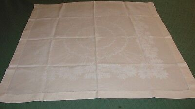 "Vintage White Linen Luncheon Tablecloth - Chrysanthemum, Excellent 34"" x 35"""