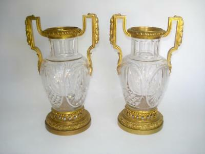 Pair Antique Cut Crystal & Ormolu Mounted Vases France Louis Xvi Style