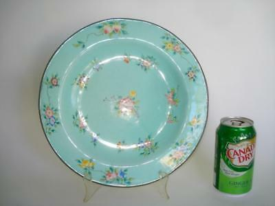Large Antique Chinese Canton Enamel Plate Turqoise Ground Famille Rose Signed