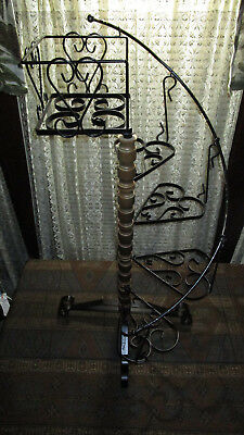 "Vintage 5 Tier Spiral Wrought Iron & Wood Plant Display Stand  36"" Tall"