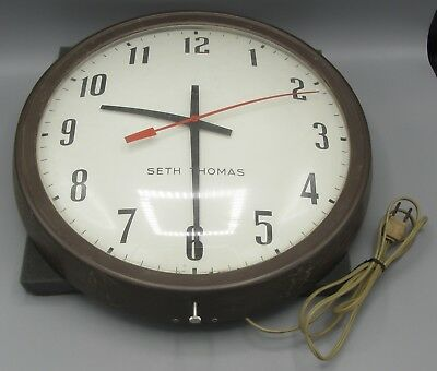 """NON-Working Vintage 1950s Seth Thomas Old 13"""" School Electric Wall Clock"""