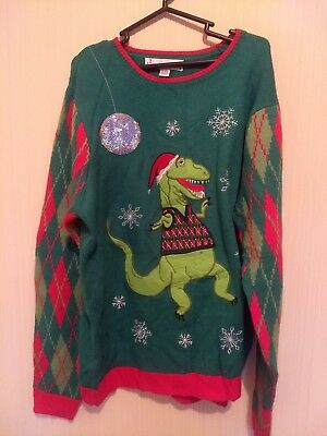 T Rex Ugly Christmas Sweater.Jolly Sweater Mens Ugly Christmas Sweater Disco Dancing Dinosaur Size Xl T Rex
