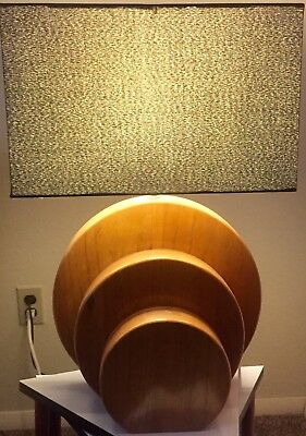 Pair of Machine Age 1940's Wood Circular Art Deco Era Lamps. Rohde/Frankl Style