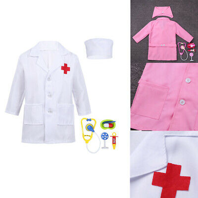 Kids Boy Girl  Surgeon Doctor Costume Lab Coat Party Cosplay Costume Fancy Dress