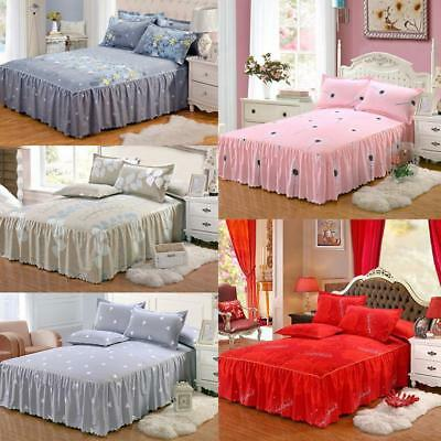 Twill Printing Bed Skirt Matte Dust Ruffle Queen Size Bedspread Bed Skirt