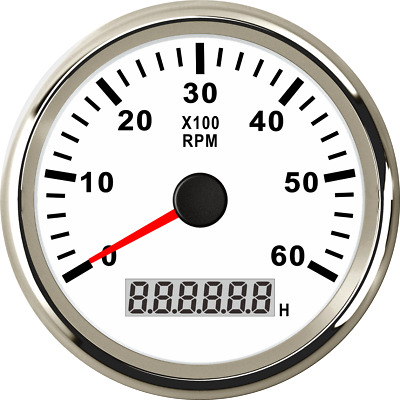 85mm Waterproof Marine Tachometer Boat Gauge Car Truck Digital Hourmeter 6000RPM