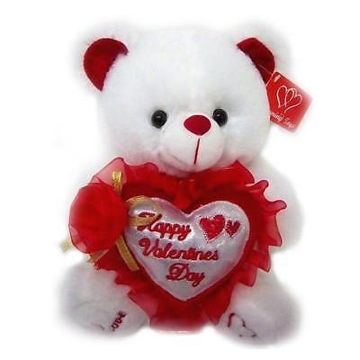 "9"" White/Red Plush Happy Valentines Day Musical Bear Heart Pillow Bow Love Teddy"