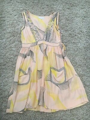 8480e909074 alice mccall grey yellow patterned silk sleeveless playsuit…size 10…vgc...