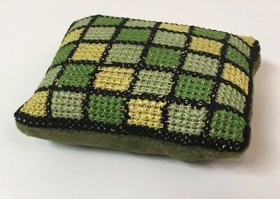 """ANTIQUE Victorian NEEDLE HOLDER Small Needlepoint Pillow 3-5/8""""x2-3/4""""x1-5/8"""""""