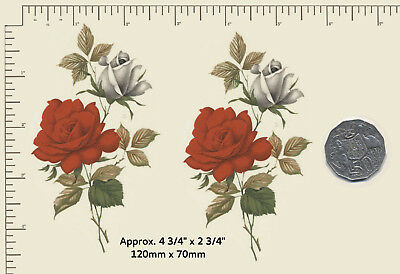 """2 x Waterslide ceramic decals Decoupage Red and Whites roses 4 3/4"""" x 2 3/4"""" A11"""