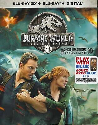 JURASSIC WORLD FALLEN KINGDOM 3D BLU-RAY & BLURAY & DIGITAL SET with Chris Pratt