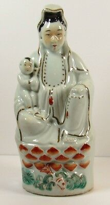 Antique Chinese Late Qing Early Republic Guan Kwan Yin With Child Figurine