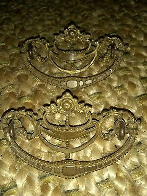 2 Vintage rose Antique Victorian Brass Ornate Drawer Pulls