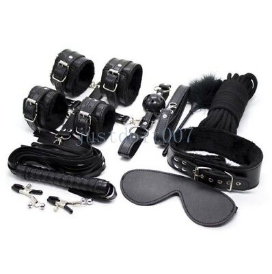 10Pcs Under Bed Bondage Set Collar Whip Cuffs Rope Restraint System Kit BDSM Toy