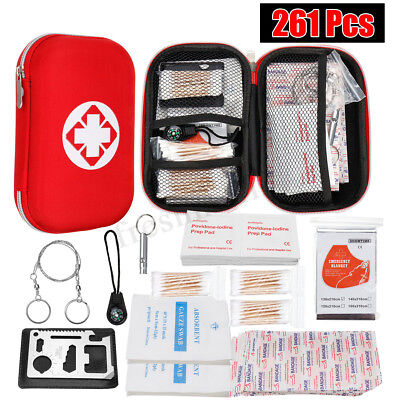 261pcs First Aid Kit Family Supplies Survival Workplace Car Travel Sports Bag AU