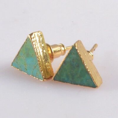 9mm Triangle Natural Genuine Turquoise Stud Earrings Gold Plated T073114