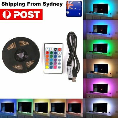 1-5M Rgb 5050 Usb Led Strip Lights Tv Back Colour Changing + Remote Control