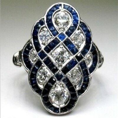 Antique Art Deco Large Jewelry Silver Plated Blue Sapphire & Crystal Ring Sz6-10