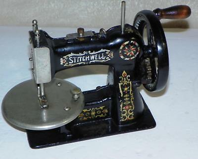 Antique Stitchwell Toy Child's Hand-Crank Black Cast-Iron Sewing Machine: Works!