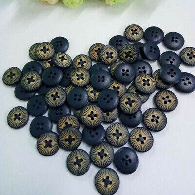 100Pcs 4 Holes Dark Blue Wood Wooden Round Buttons Sewing Scrapbooking 15mm GPQ