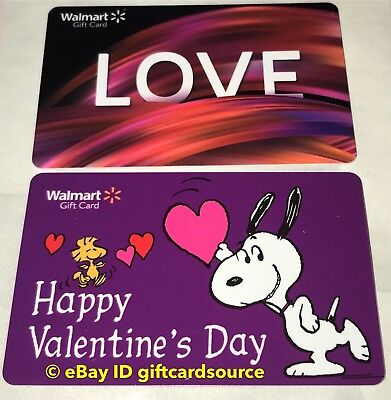 Walmart Us Gift Card Snoopy & Woodstock Happy Valentine'S Day Love No Value 2019