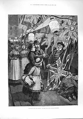 Original Old Antique Print 1887 Queen Jubilee Buying Flags Chinese Lanterns
