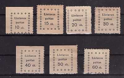 Lithuania 1919 Kaunas second issue - Mi 13-19. Complete set. Mint