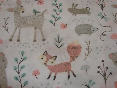 Forest Friends White Cotton Fitted Cot Sheet Handmade