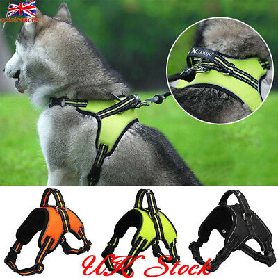UK Reflective Dog Harness Collar Lead Adjustable Padded Waterproof Non Pull Vest