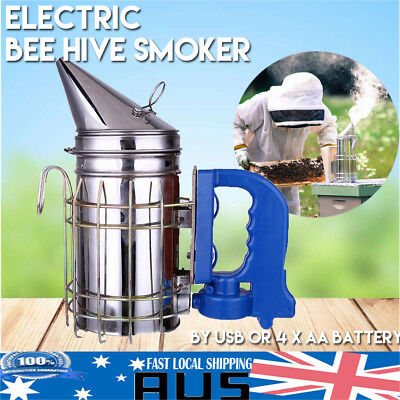 Electric Bee Hive Smoker Stainless Steel Beekeeping Equipment w/ Heat Shield AU