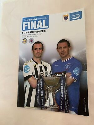 2010 St Mirren v Rangers Scottish Cup Final Official  Mint Programme