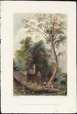 WH BARTLETT Antique 19thC c1840 Steel Engraving THE TOMB OF WASHINGTON MT VERNON