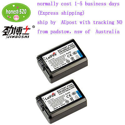 2X NP-FW50 NPFW50 Battery For Sony Alpha 7 A7R A7S A7M2 A3000 A5000 A6000
