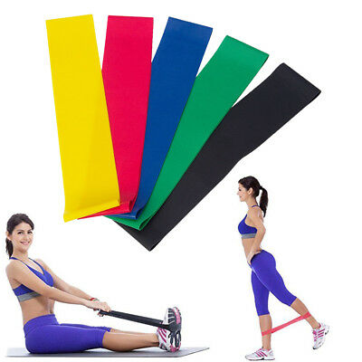 Set of 5 Heavy Duty Resistance Band Loop Exercise Yoga Workout Power Gym Fitness