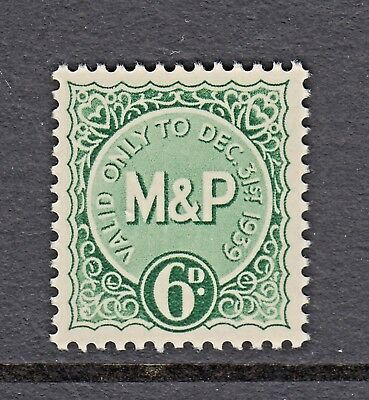 M & P - 6d. - GREEN - VALID ONLY TO DEC 31st. 1939 - GREAT BRITAIN - CINDERELLAS