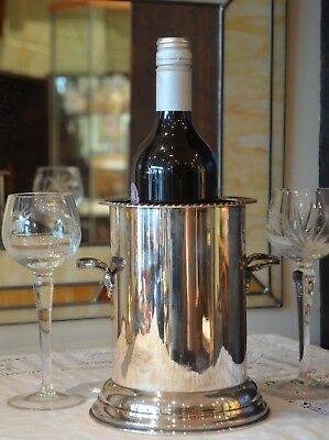 Art Deco Heavy Quality Silver Plate on Copper Wine Bottle Holder Cooler Coaster