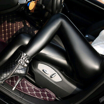 Women Sexy Skinny Faux Leather Stretchy Pants Leggings Pencil Tight Trousers Oma