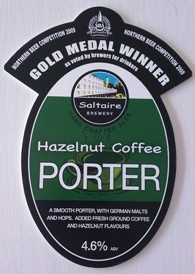 SALTAIRE brewery HAZELNUT COFFEE PORTER cask beer pump clip front badge Yorks