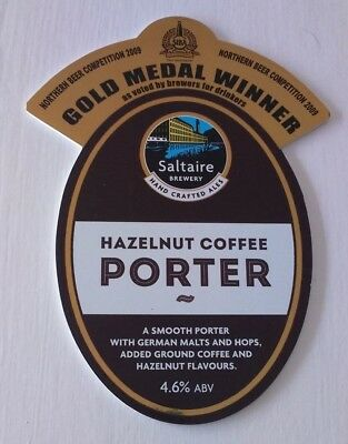 SALTAIRE brewery HAZELNUT COFFEE PORTER cask beer ale pump clip front badge
