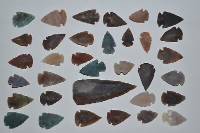 """34 PC Flint Arrowhead Ohio Collection Points 1-3"""" Spear Bow Stone Hunting 2673"""