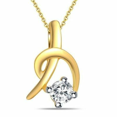 14K Yellow Gold Fn Womens 1.0 Ct Round Solitaire Diamond Pendant Necklace Charm