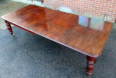 Large William IV antique solid Cuban mahogany extending dining table seats 14