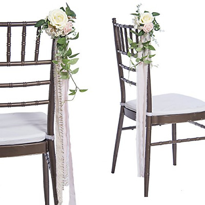 Ling's moment Wedding Aisle Decorations Flowers for Chairs Set of 8 Cream Blush