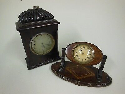 2 Decorative Wood Cased Mantel Clocks (for restoration or spare parts only)