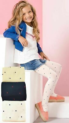 Girls Blue Dots Microfibre Tights 60 den Age 4 - 11 New Kids Opaque Pipi