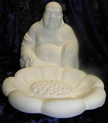 Ceramic Ready to Paint Bisque  Sitting Budda with lotus flower bowl in front